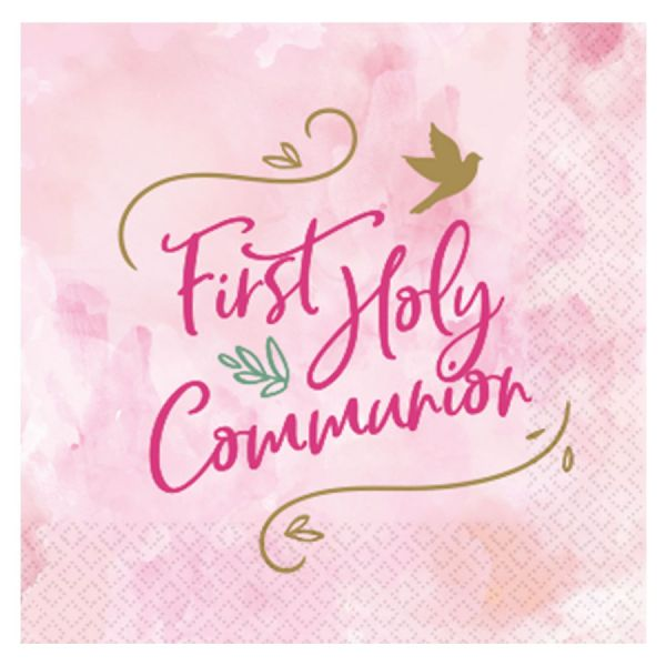 Pink First Holy Communion Luncheon Napkins